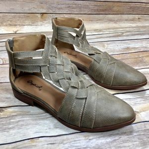 Qupid Taupe green brown cutout flat booties NWOT